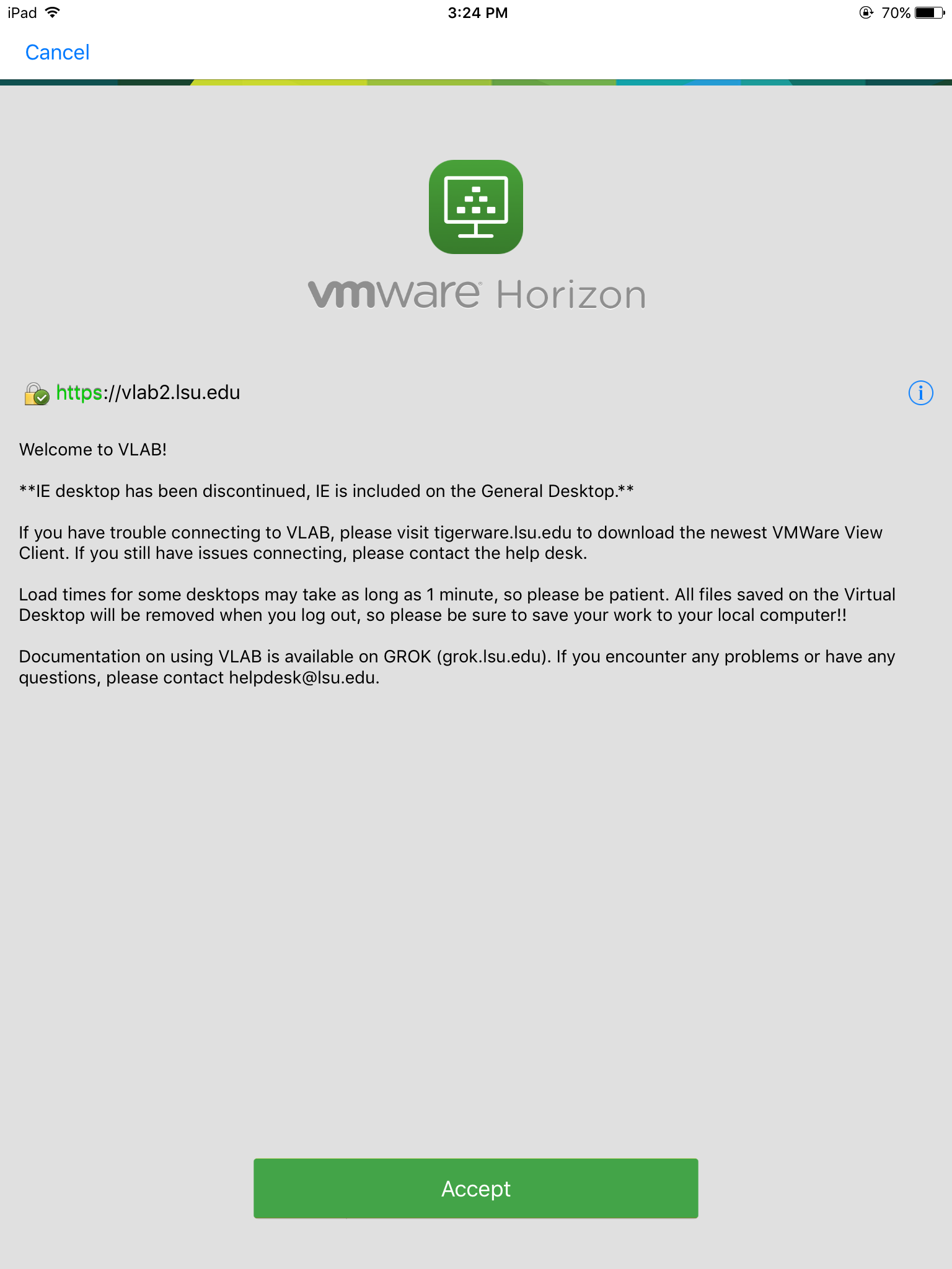 VMware accept button.