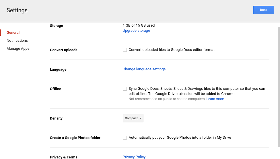 Google Drive General settings page