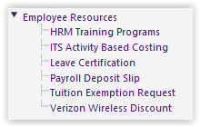 myLSU Portal | Employee Resources main menu