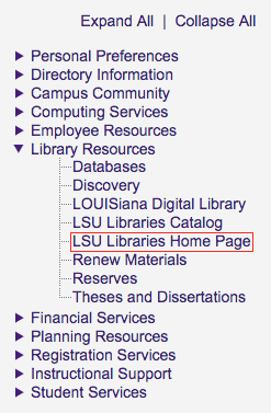 myLSU Libraries Home Page link