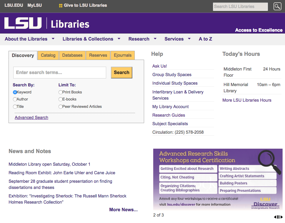 myLSU Libraries Home Page webpage