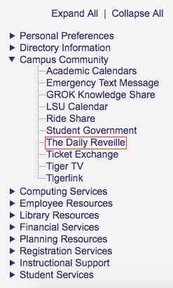myLSU The Daily Reveille link at the left hand menu