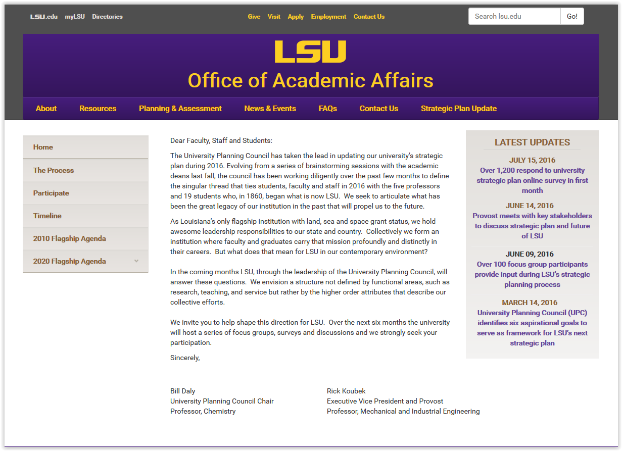 Office of Academic Affairs homepage