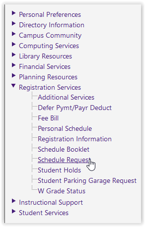 Registration services/Schedule request options on myLSU