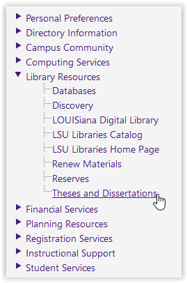 Library Resources/Theses and Dissertations options in myLSU