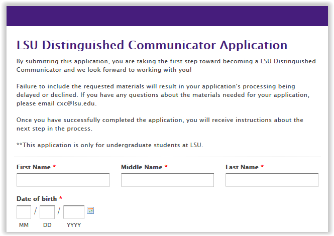 LSU Distinguished Communicator Application