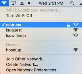Mac network list with eduroam connected