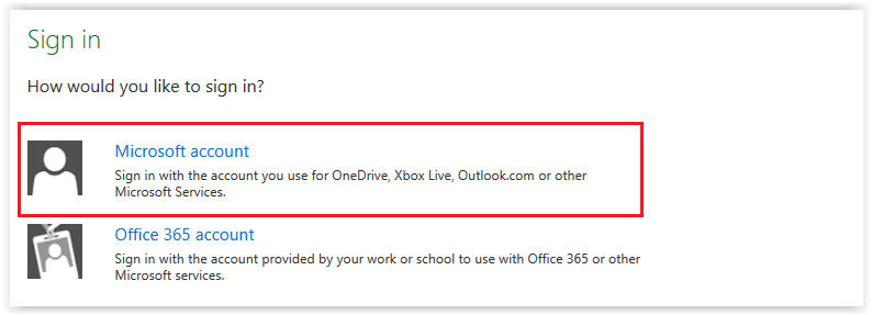 Sign in Options - Microsoft account selected.