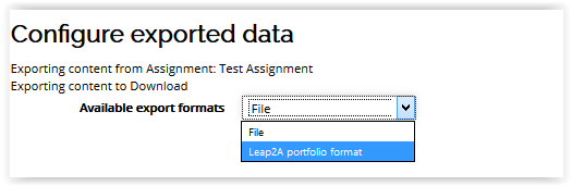 Configured exported data window