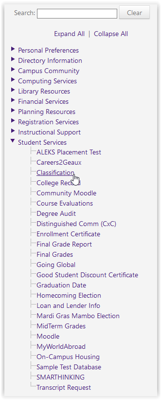 classification option under student services in mylsu