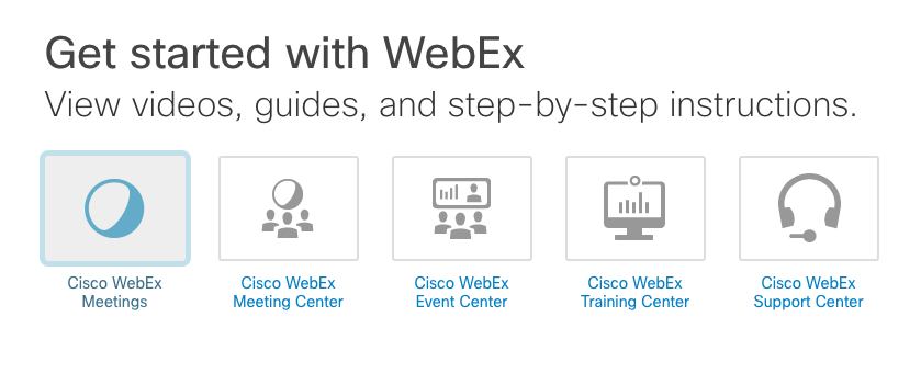 Getting Started with WebEx page