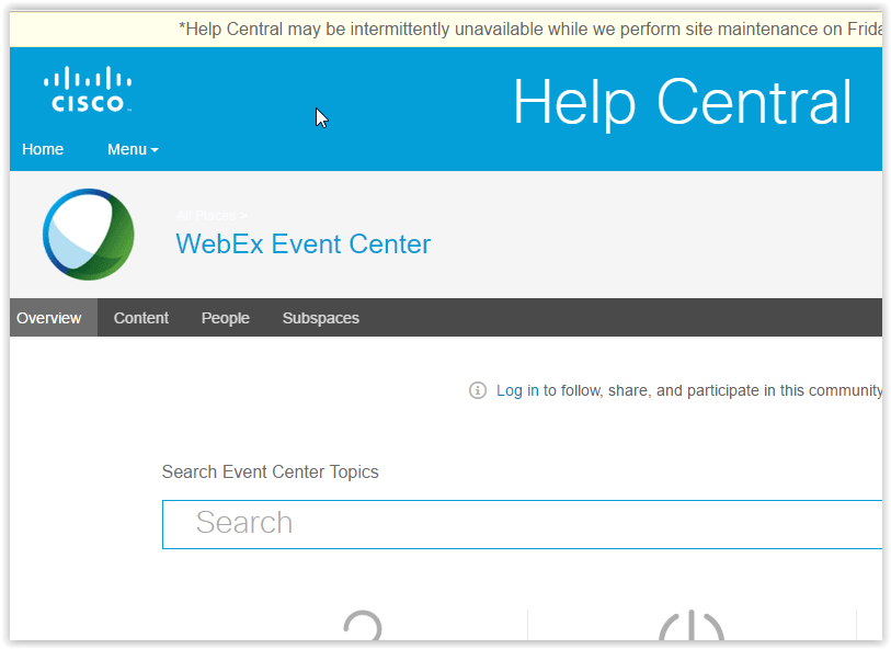 the webex event center Help Central