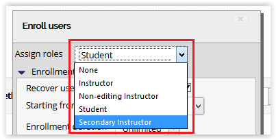 Assign roles drop down menu