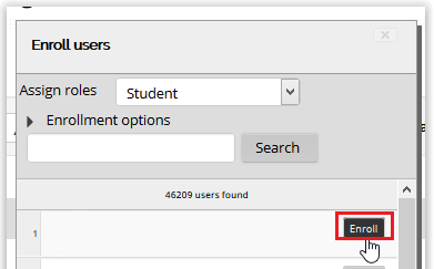 enroll button on the enroll users window