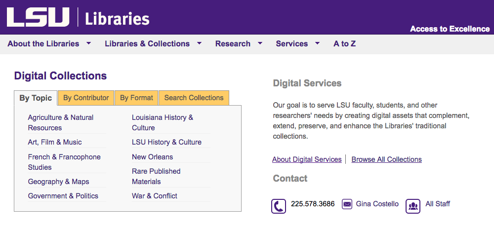 Digital Collections webpage