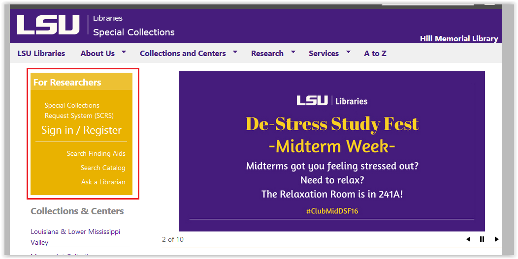 lsu librairies special collections page