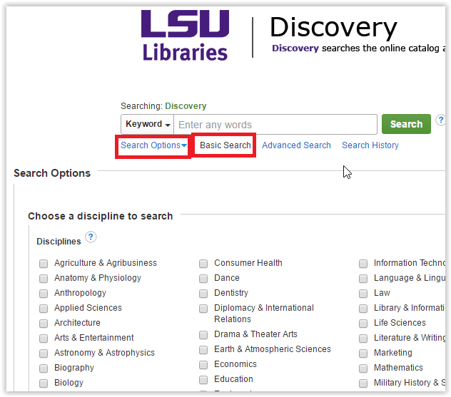 the lsu discovery window with search options drop down menu and the basic search option highlighted