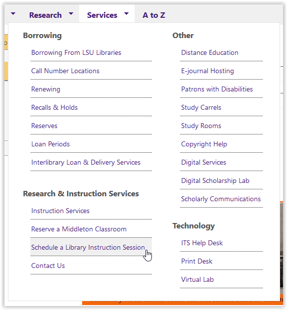 Lsu Library Schedule A Library Instruction Session Or Middleton