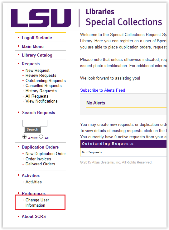 LSU Libraries Special Collections change user information