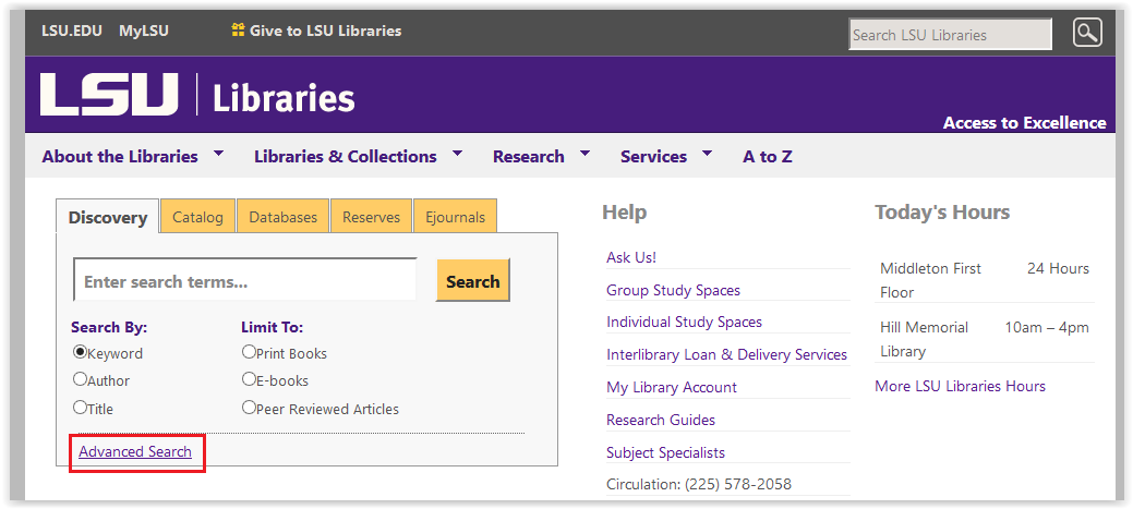 advanced search button in lsu library page