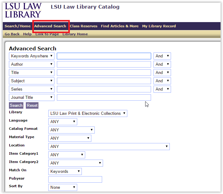the advanced search window with the advanced search option highlighted