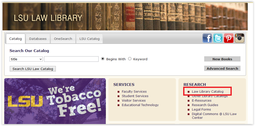 the Law Library Catalog in the research section