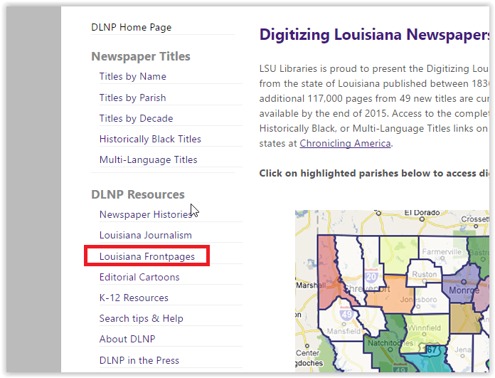 the louisiana frontpages option in the DNLP resources section