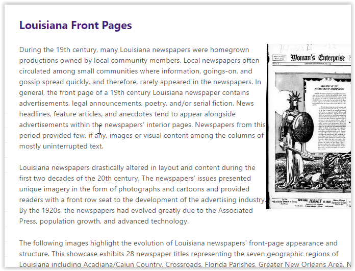 Louisiana Front Pages window