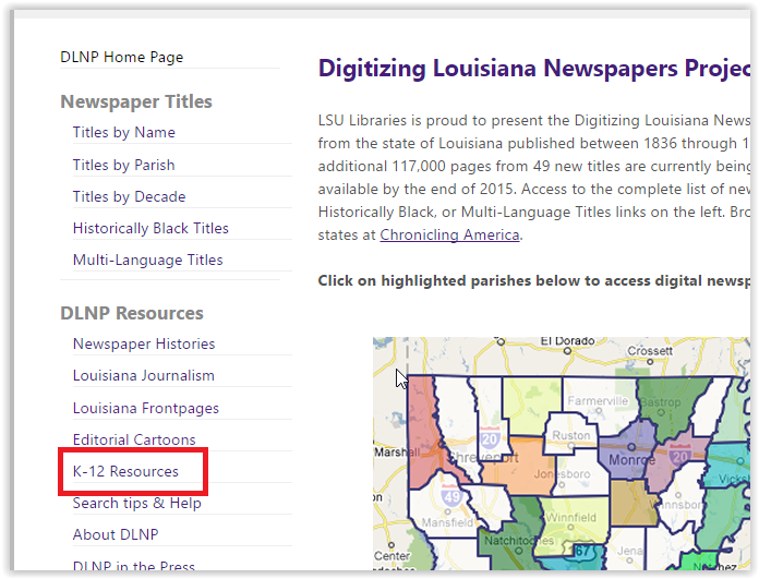 the k-12 resources option in the dlnp section
