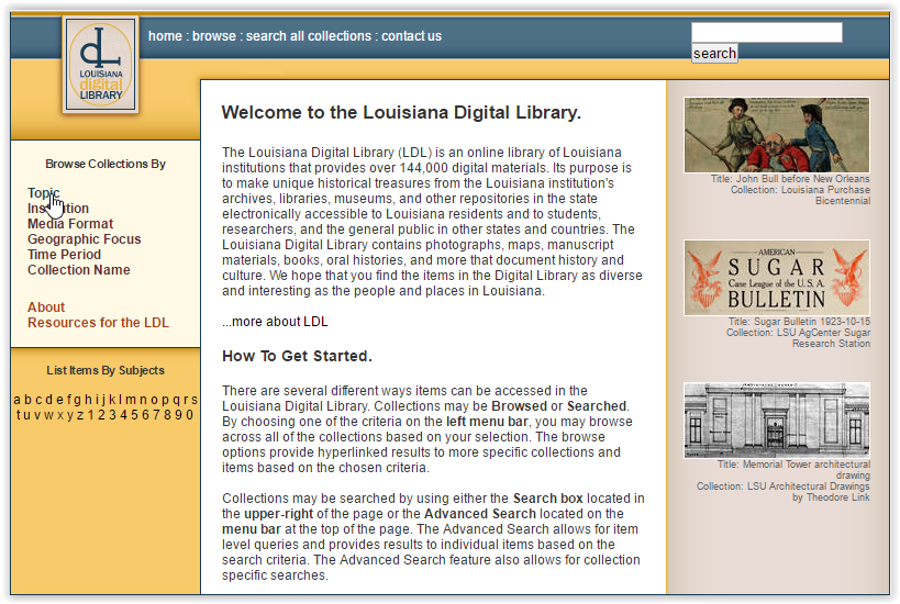 Topic highlighted at the left hand side of the Louisiana Digital Library site.