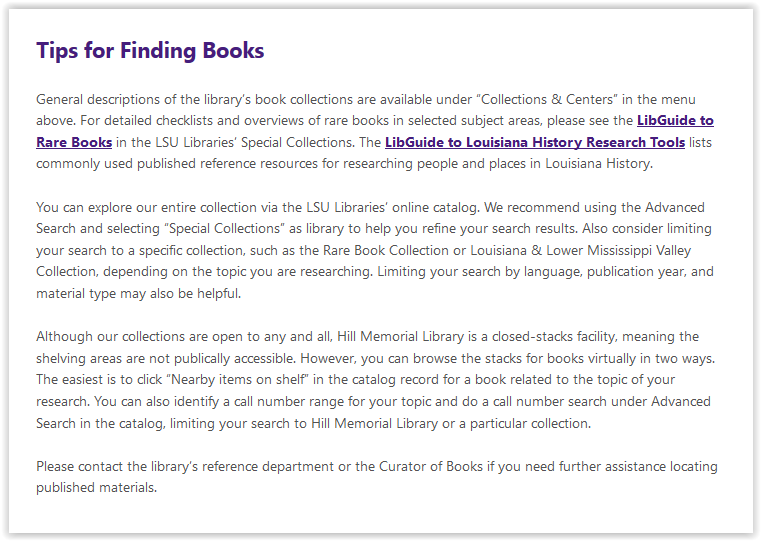 LSU libraries special collections tips for finding books