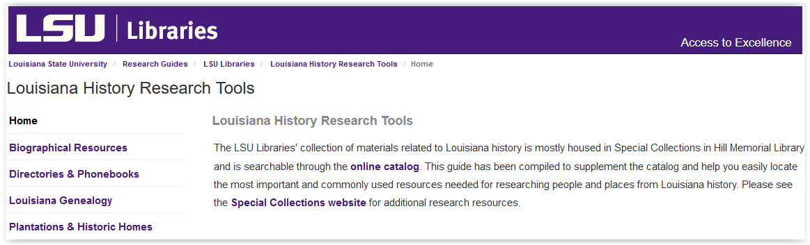 LSU libraries special collections Louisiana history research tools
