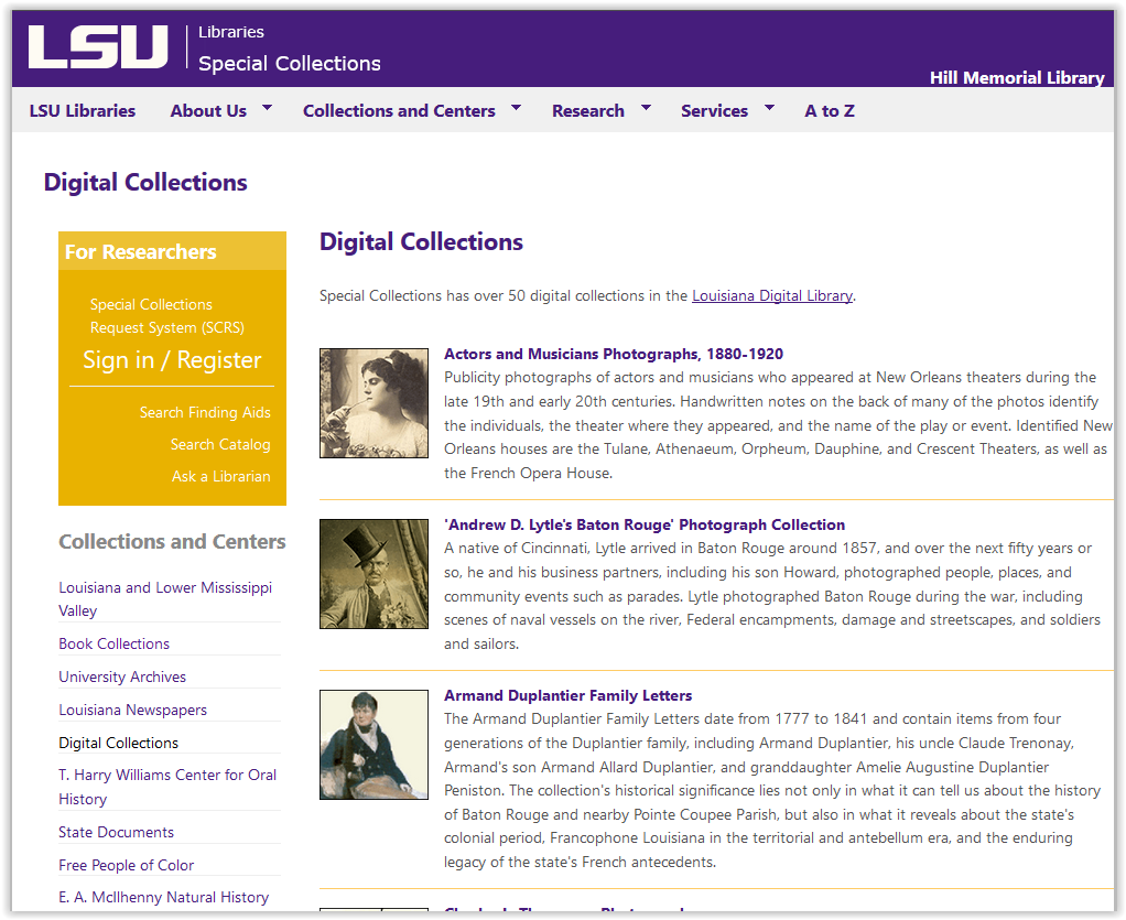 LSU libraries special collections digital collections homepage