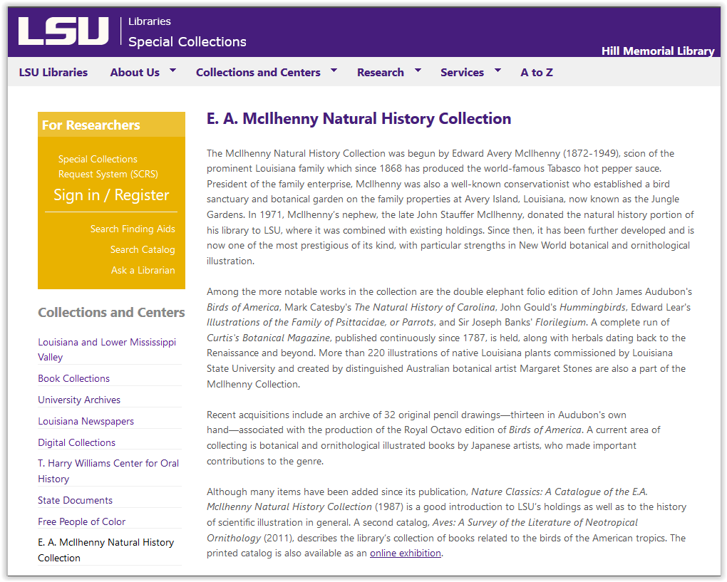 E. A. McIlhenny Natural History Collection homepage