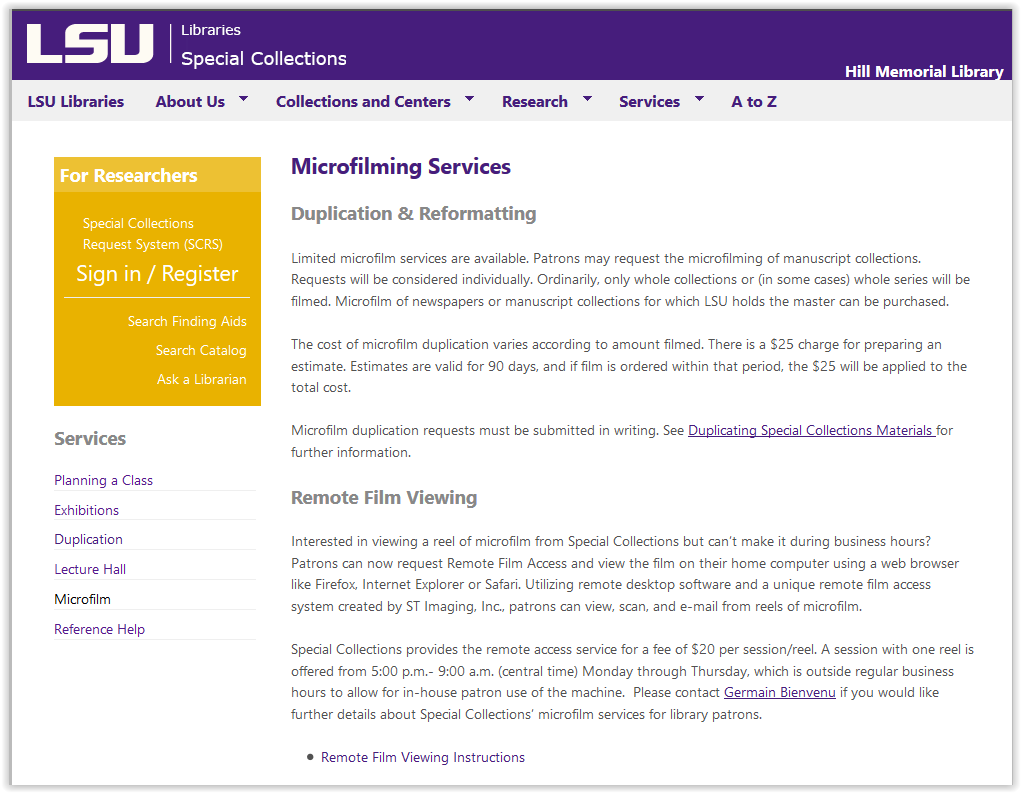 Microfilming Services homepage