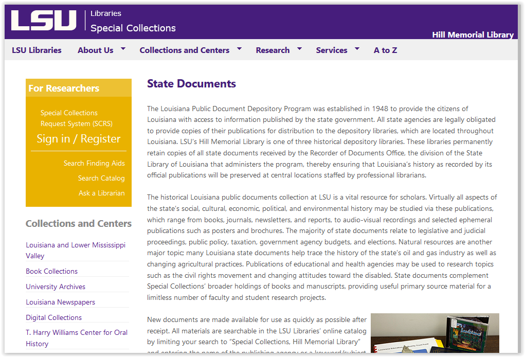 special collections state documents page