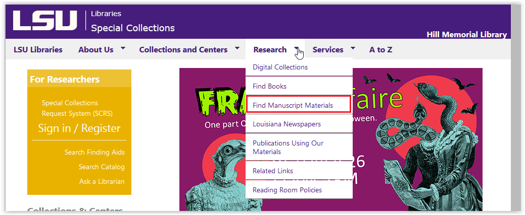 LSU libraries special collections research/find manuscript materials button