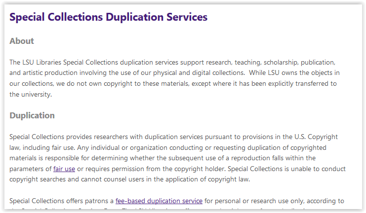Duplicating Special Collection Materials