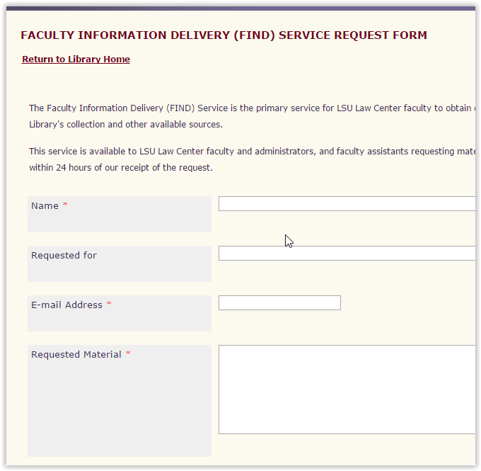 the Faculty Information Delivery (FIND) Service Request Form Page.