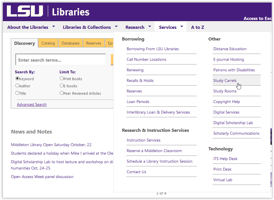 LSU Libraries services/study carrels button