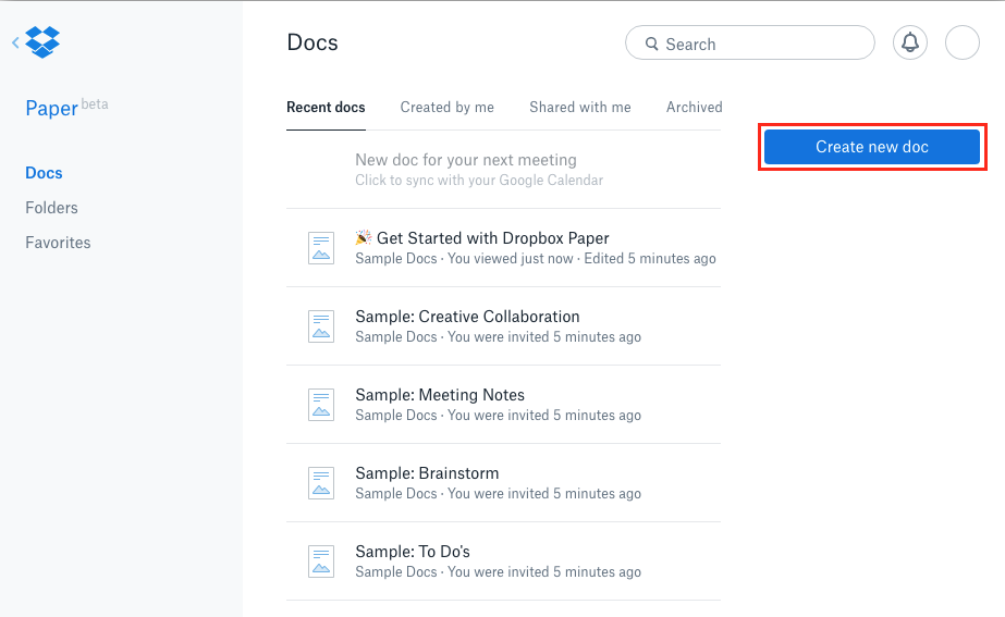 The create new doc button