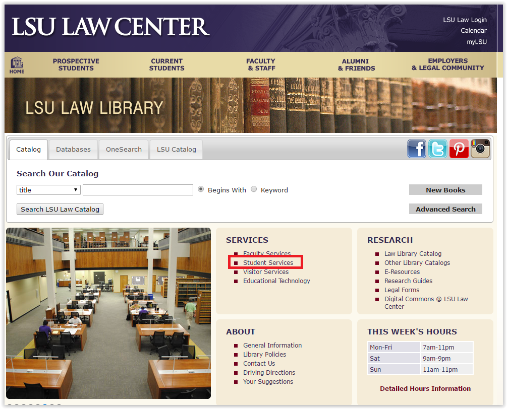 the student services link on the Law library webpage