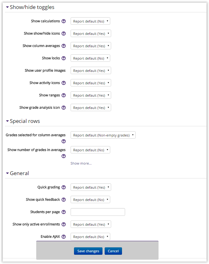 Gradebook preferences and settings webpage.
