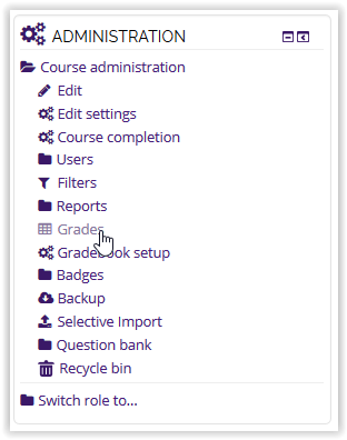 Grades tab under Administration in Moodle