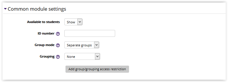 Common Module Settings section with availability to students, ID number, and grouping options