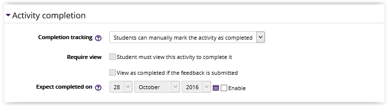 Feedback Activity Completion Settings