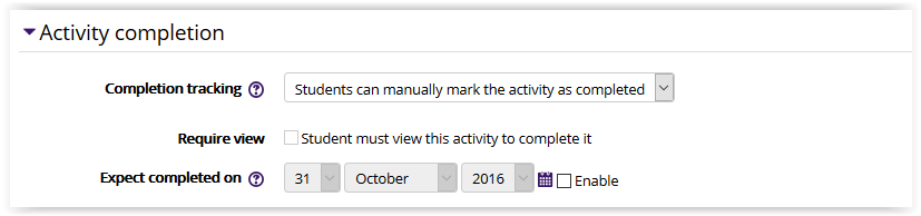 File settings/activity completion settings in Moodle 3