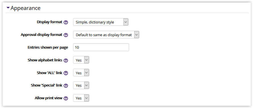 Glossary settings/appearance settings in moodle 3
