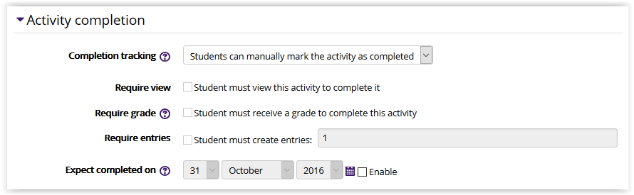 Glossary settings/activity completion settings in moodle 3