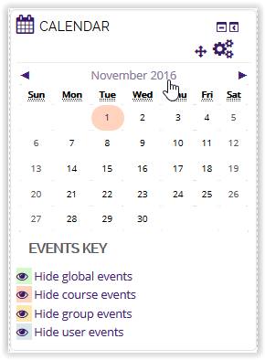 Calendar icon in moodle